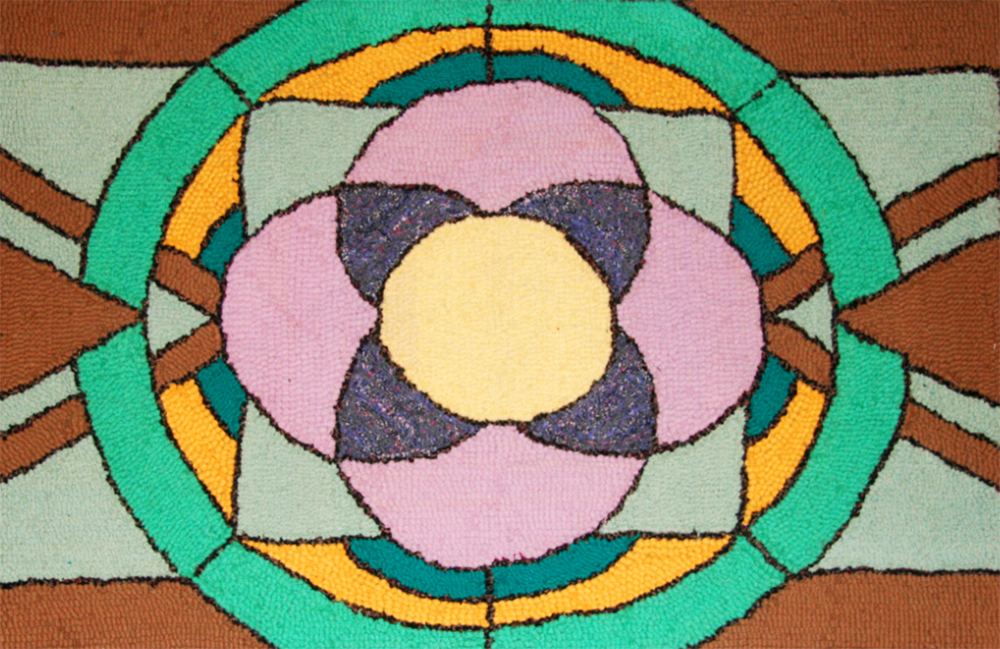 Stained glass wool hooked rug