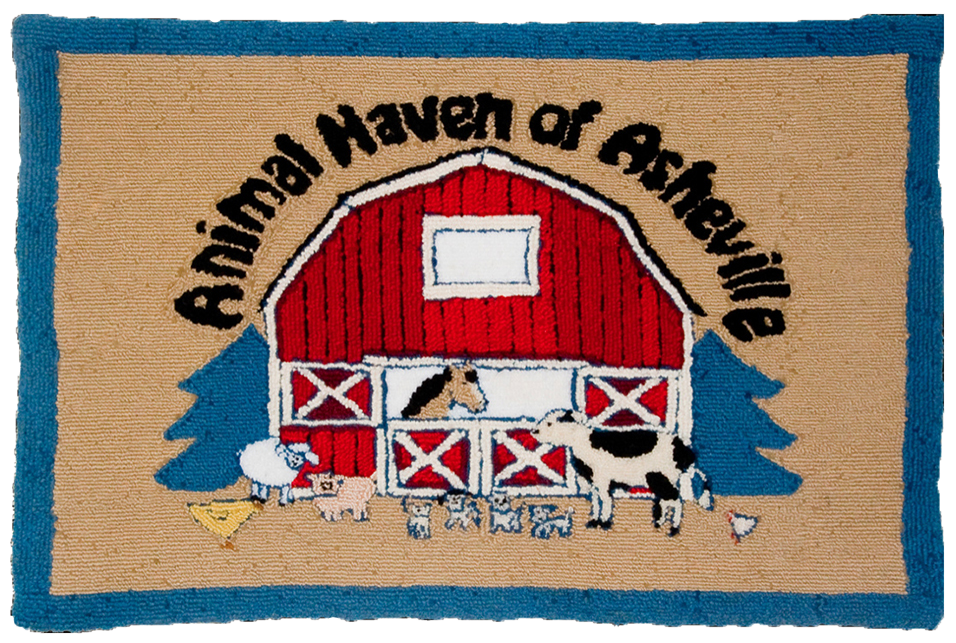 Animal Haven wool hooked rug