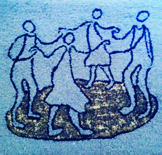 Dance circle wool hooked rug
