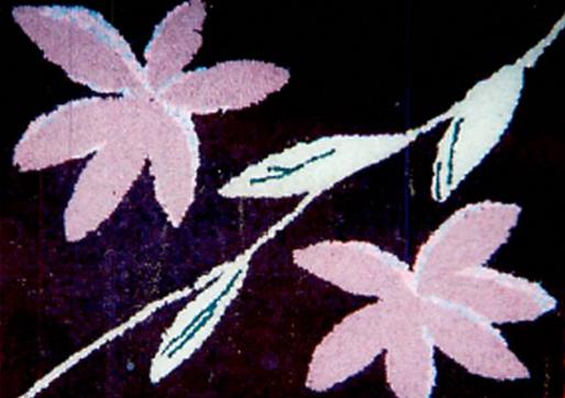 flower wool hooked rug