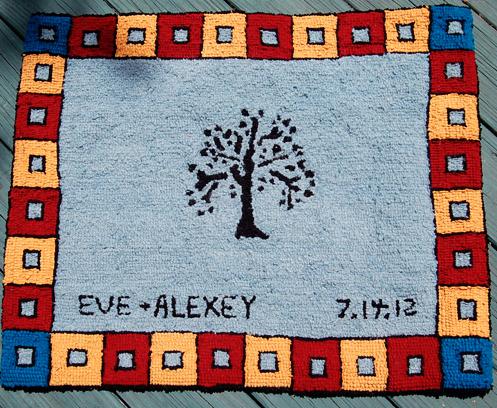 Wedding present wool hooked rug