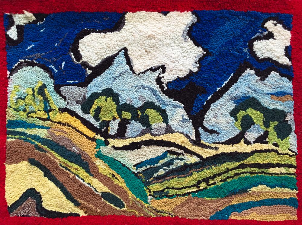Landscape wool hooked rug