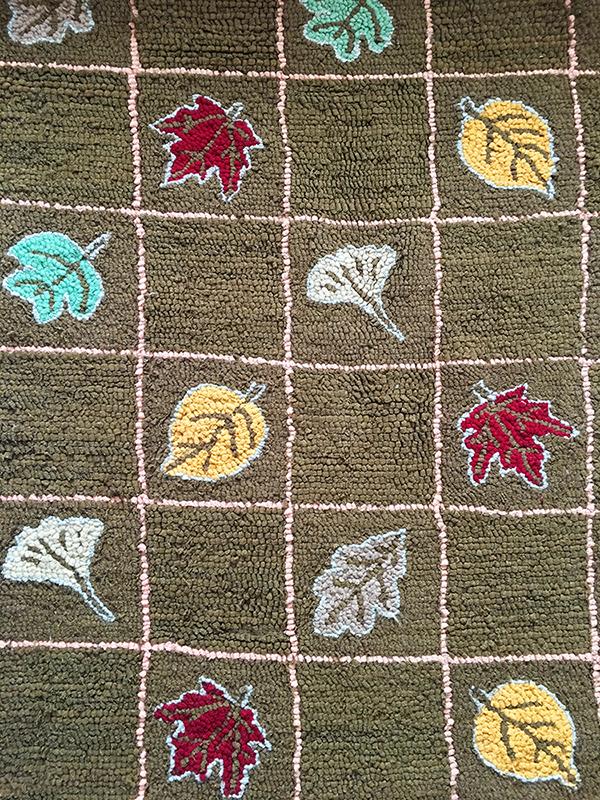 Fall leaves wool hooked rug