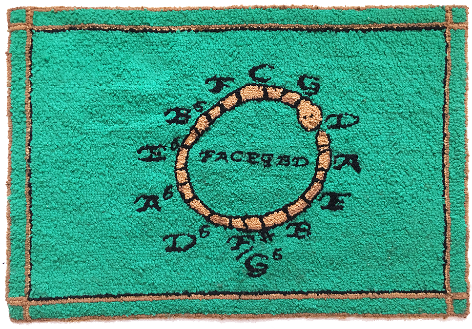 Circle of 5ths, music theory wool hooked rug