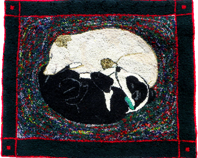 Sleeping Dogs wool hooked rug