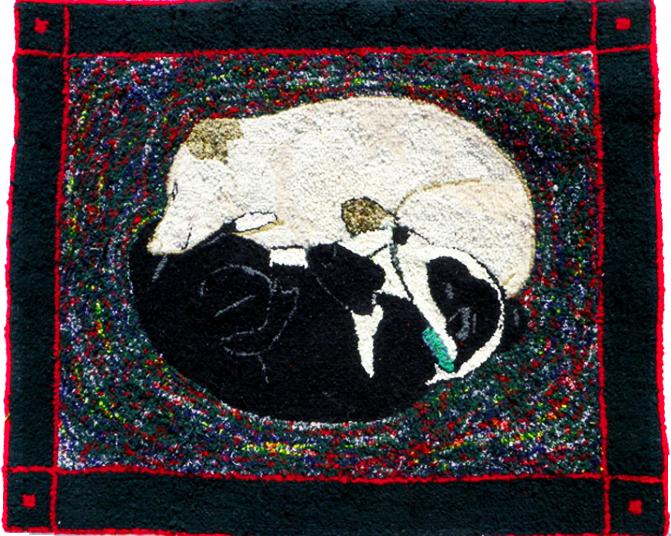 Sleeping dogs hooked wool rug