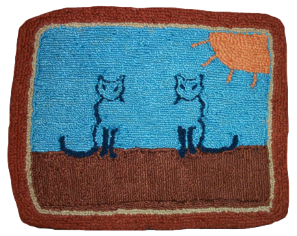 Two Cats small hooked wool rug