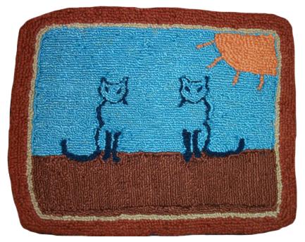 Cat wool hooked rug