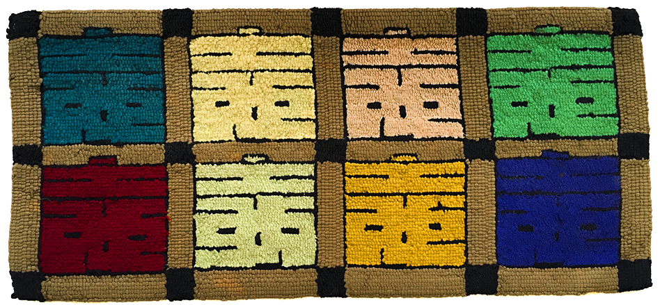 smiling faces wool hooked rug