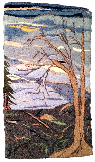 Asheville winter tree wool hooked rug