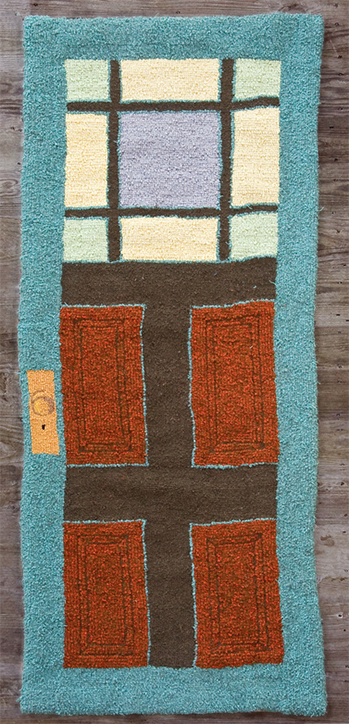 Floor door, recycled wool hooked rug