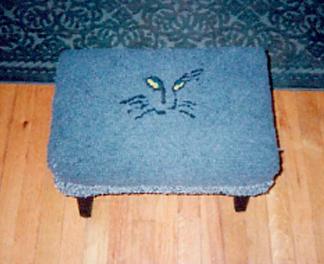hooked wool cat foot stool