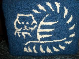 Hooked wool blue cat footstool