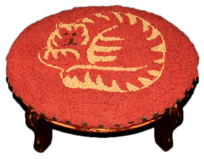 Orange Cat round footstool from hooked wool