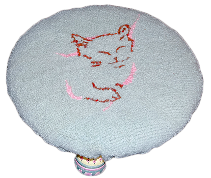 Round foot stool, hooked wool, cat