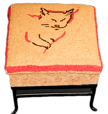 yellow cat hooked wool footstool