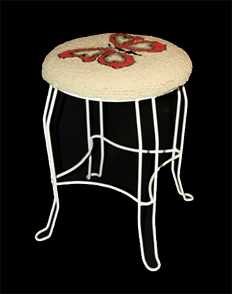 butterfly hooked wool wire stool
