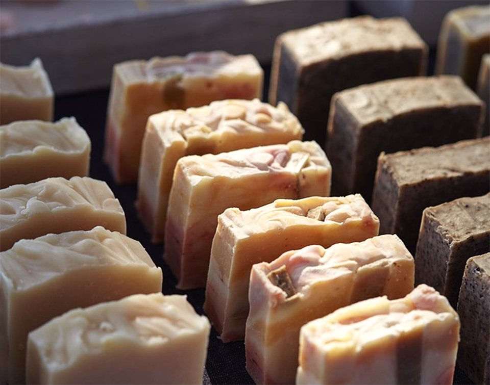 Tray of handmade soap