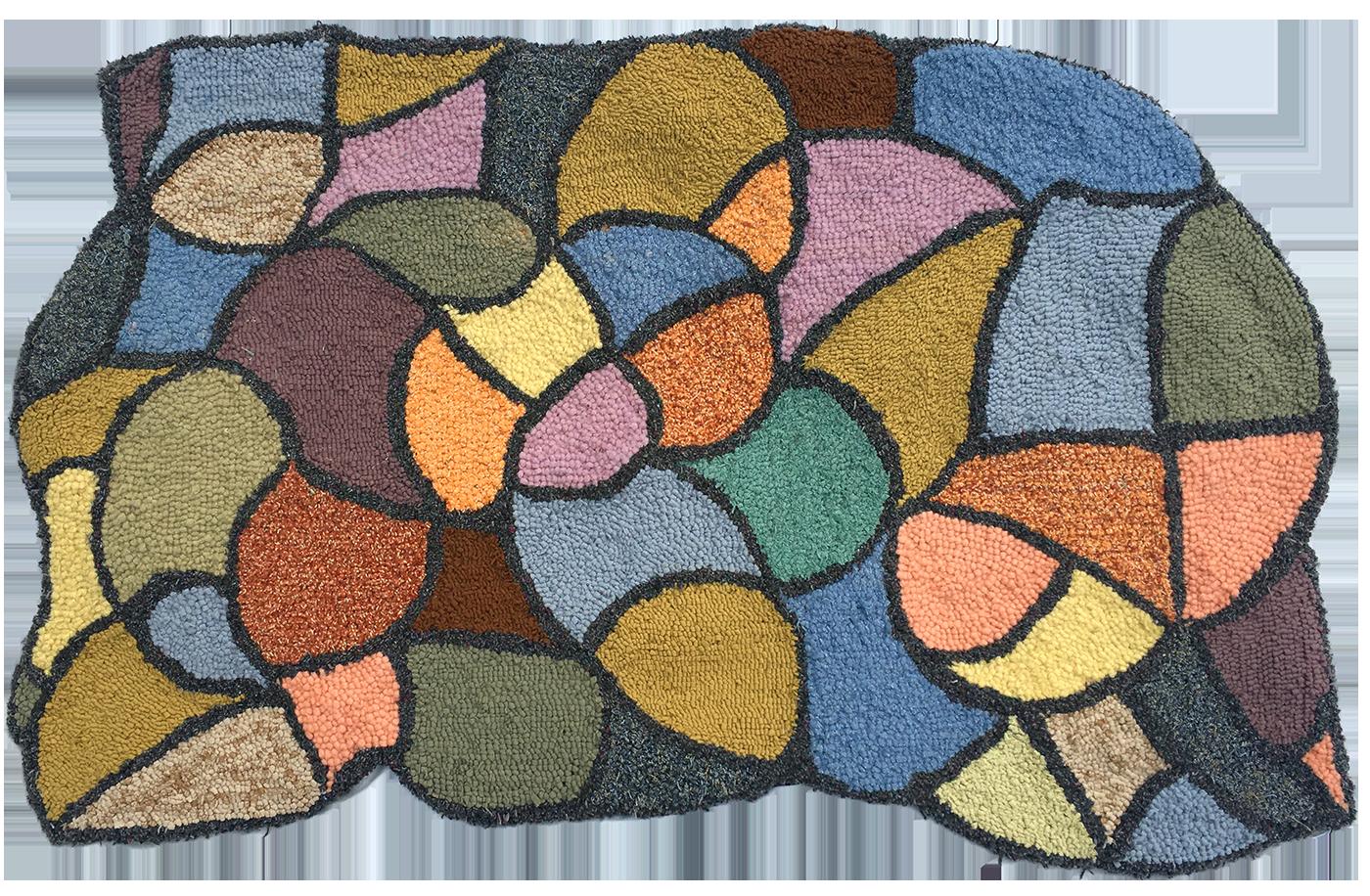 Doodle wool hooked rug