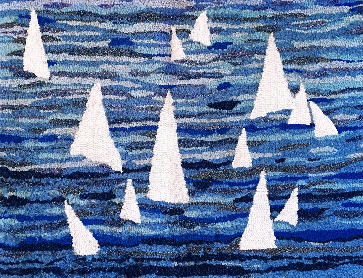Sailboats wool hooked rug