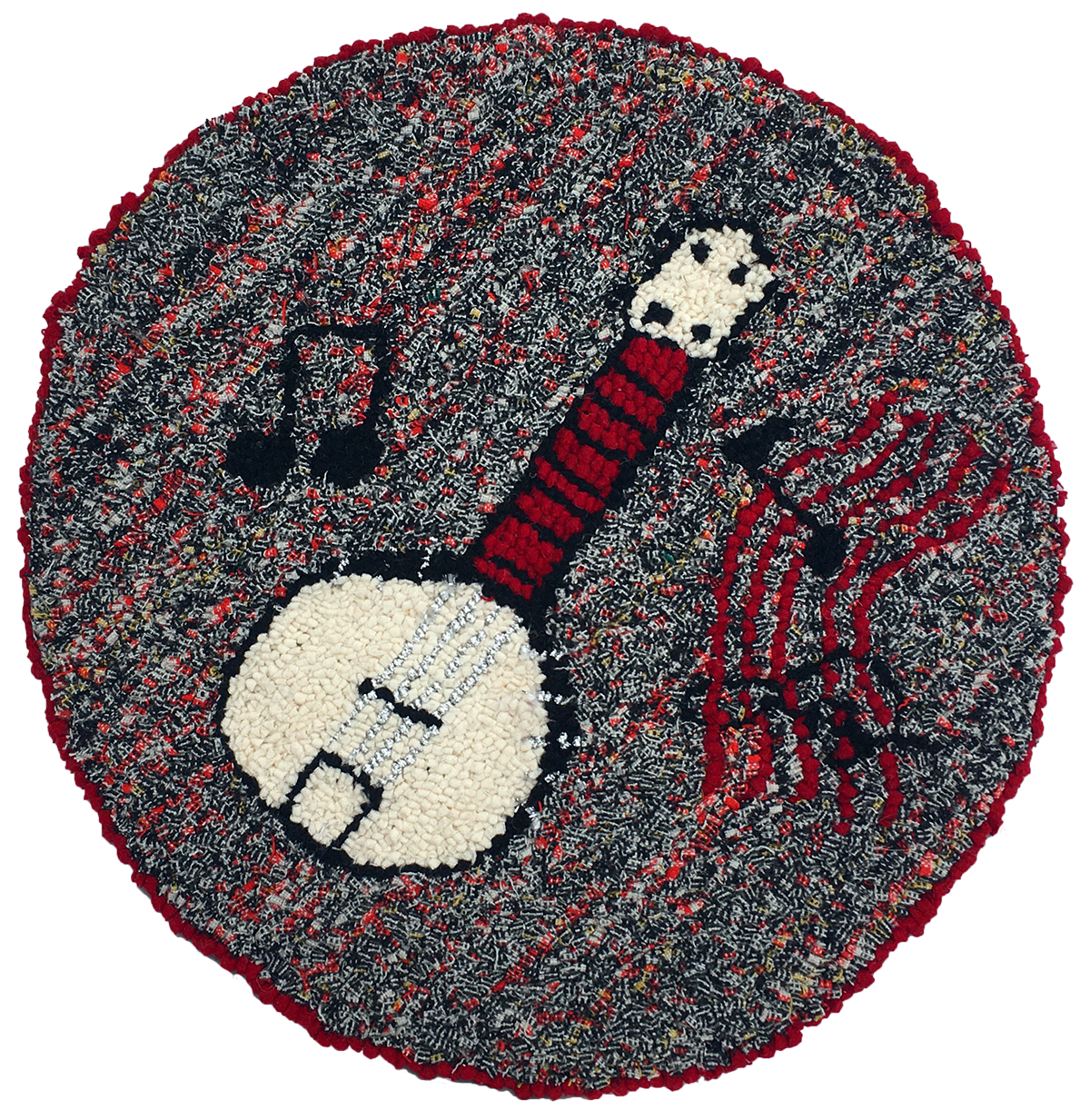Banjo recycled wool hooked seat cover