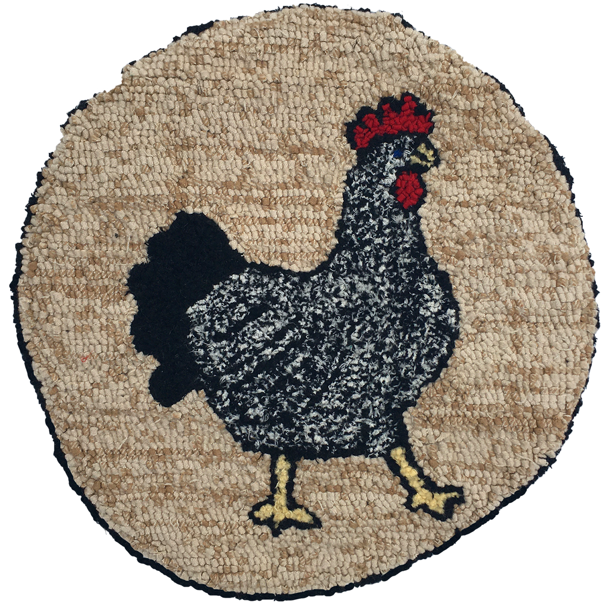 Chicken recycled wool hooked seat cover