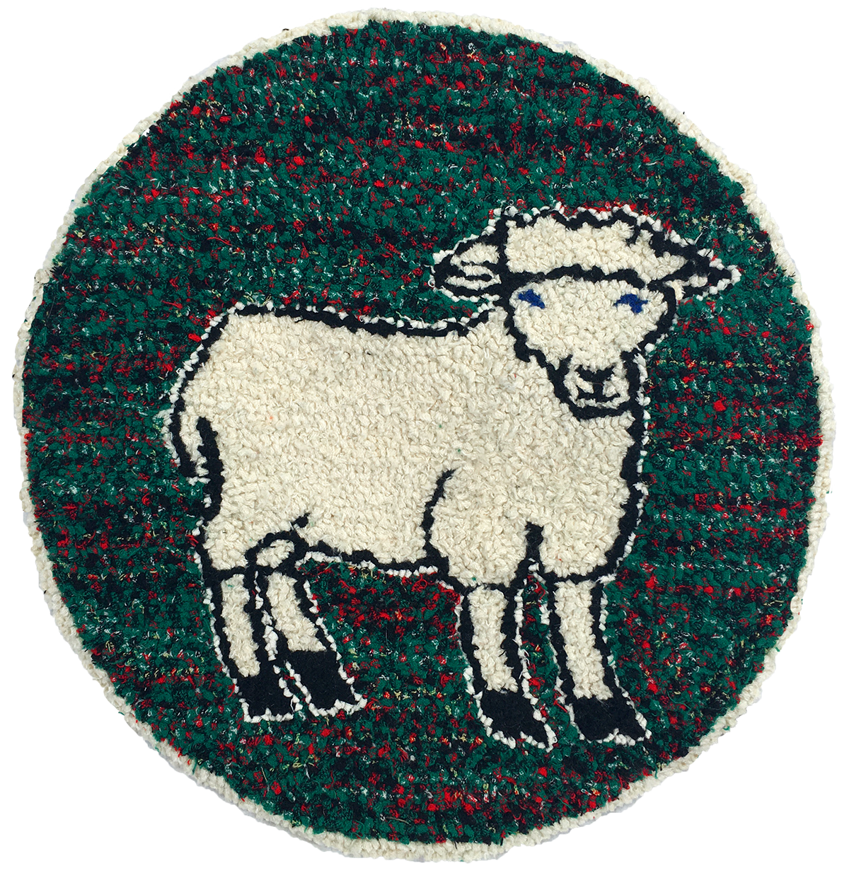 Sheep recycled wool hooked seat cover