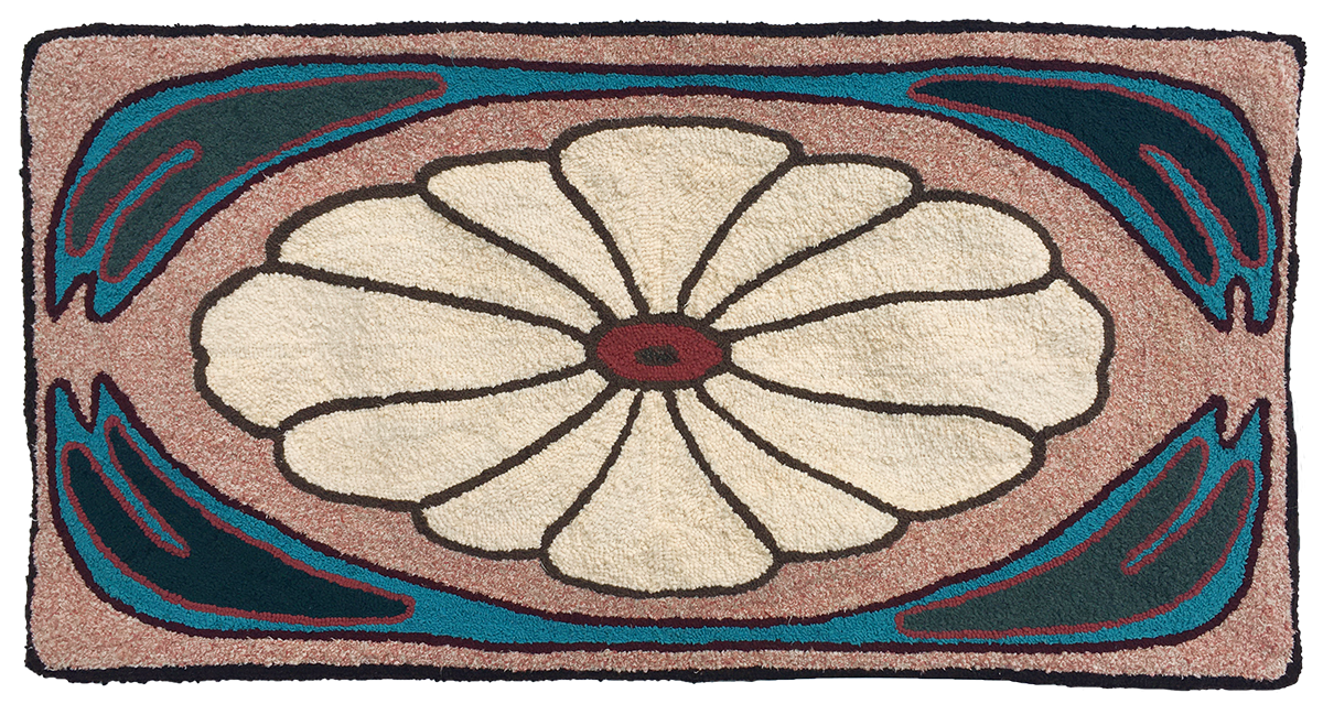 Mountain laurel hooked rug