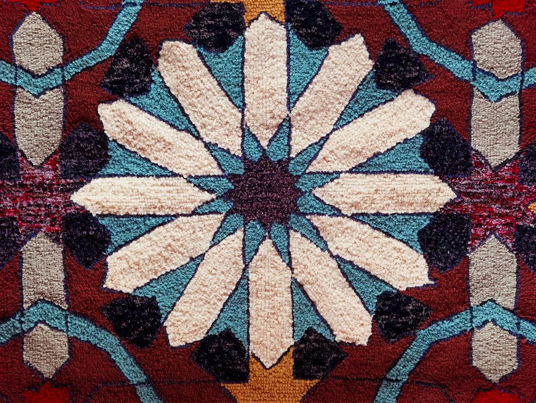 Mandala wool hooked rug